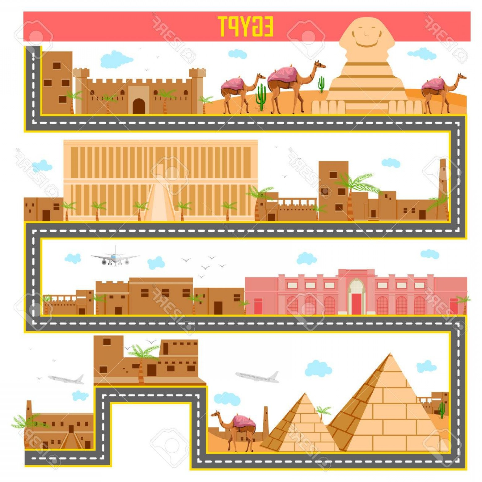 Famous Easy Vectors: Photoeasy To Edit Vector Illustration Of Cityscape With Famous Monument And Building Of Egypt