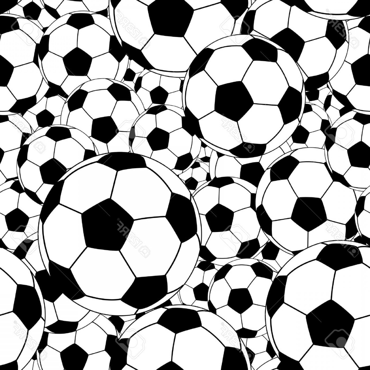 Vector Soccer Ball Pattern: Photoeditable Vector Seamless Tile Of Soccer Balls