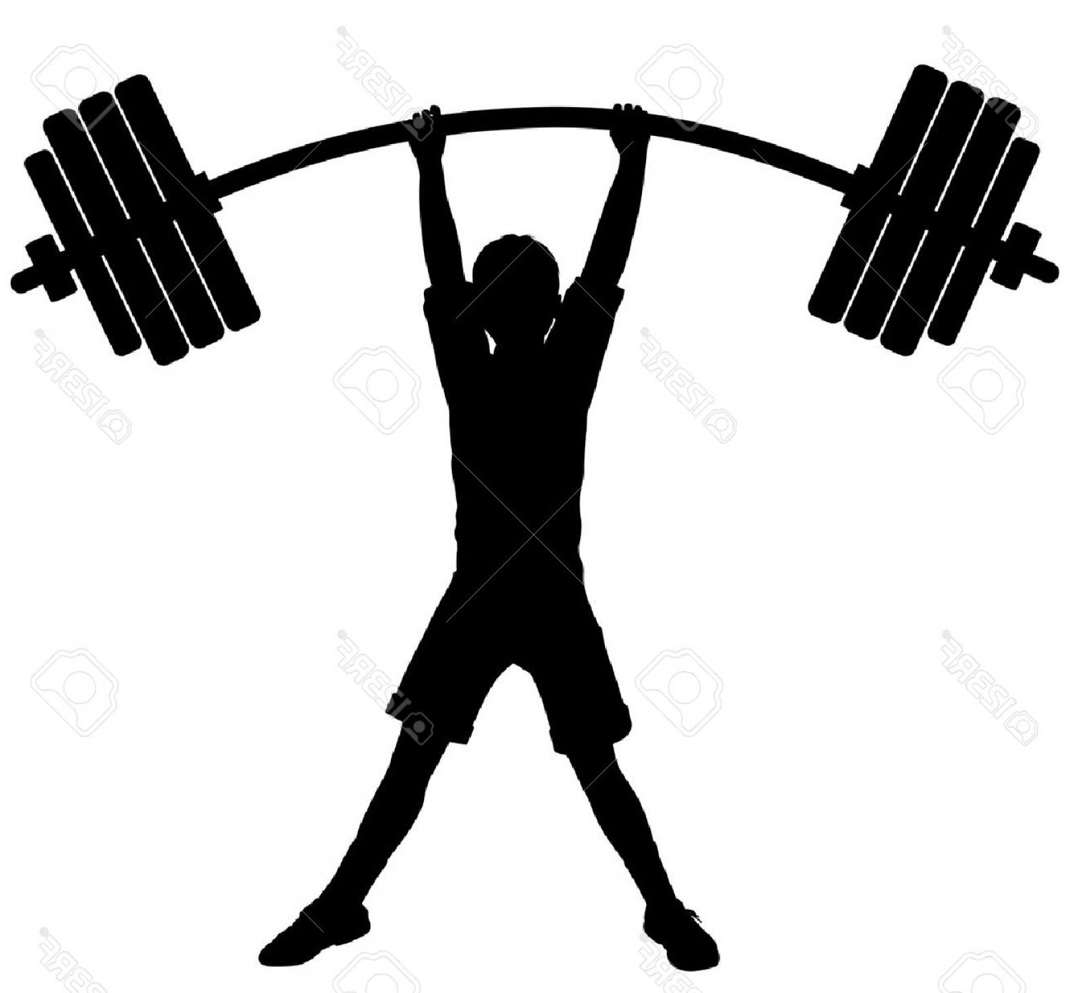 Vector Weight Lifting: Photoeditable Vector Silhouette Of A Boy Lifting Heavy Weights