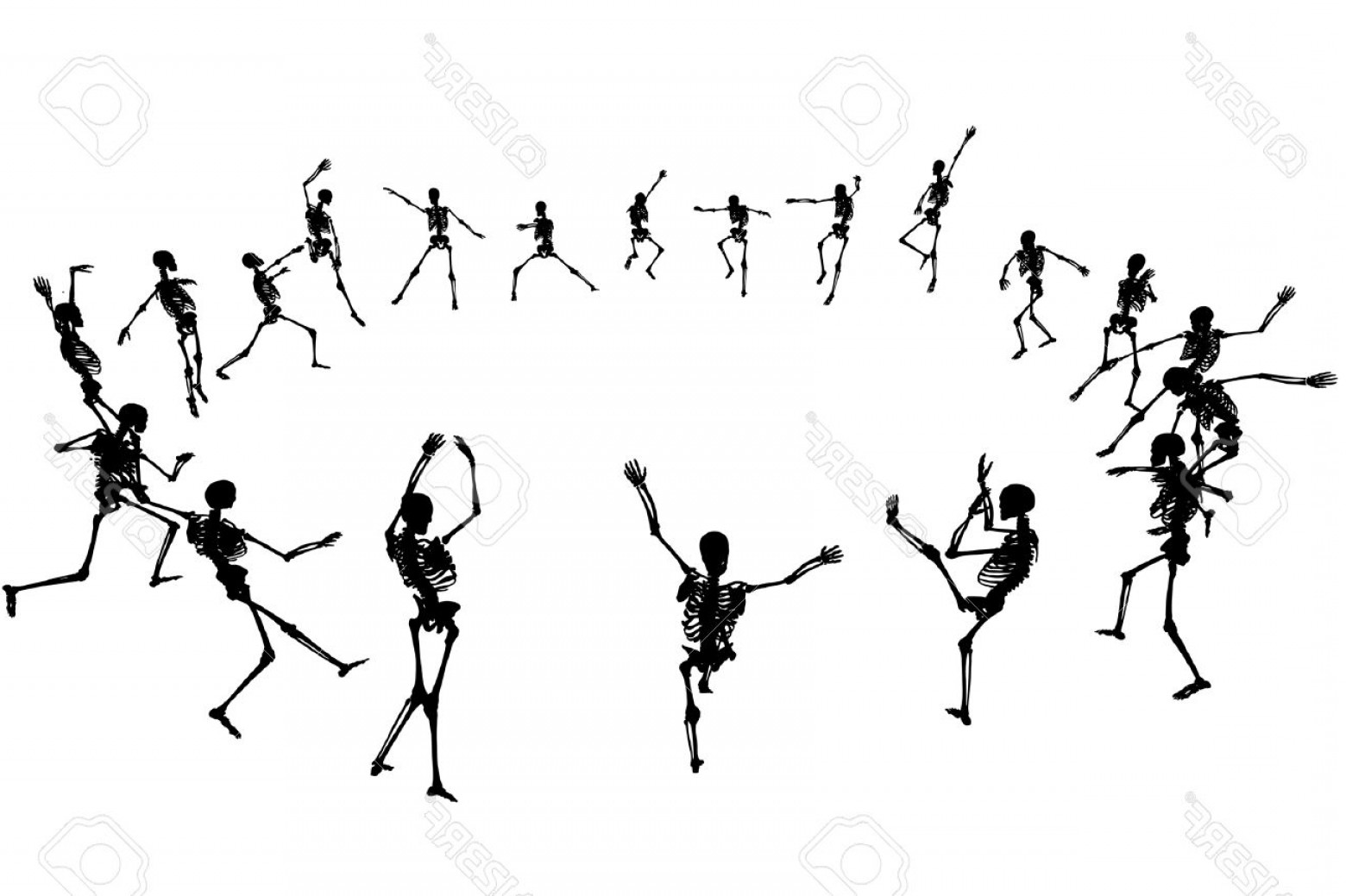 Vector Skeleton Circle Dancing: Photoeditable Vector Skeleton Silhouettes Dancing In A Ring With Each Skeleton As A Separate Object