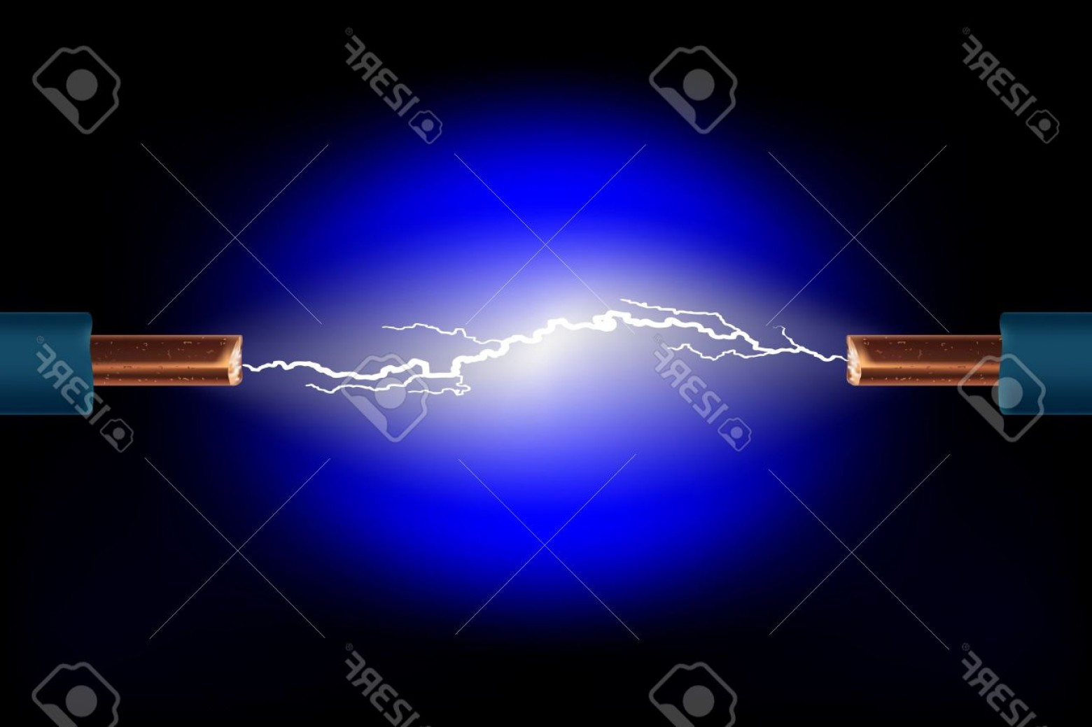 Short Cord Vector: Photoelectric Cable With Sparks On A Black Background Vector