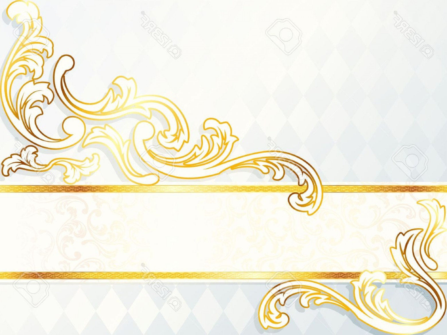 Elegant Wedding Vector Graphics: Photoelegant Horizontal White And Gold Wedding Banner Graphics Are Grouped And In Several Layers For Easy