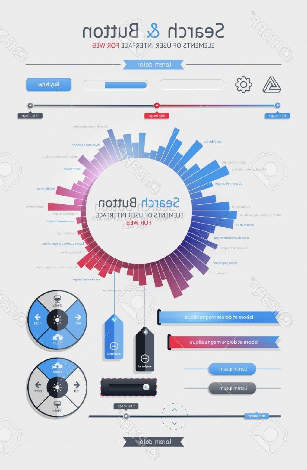 Vectors Buttons And Menus: Photoelements Of Infographics With Buttons And Menus