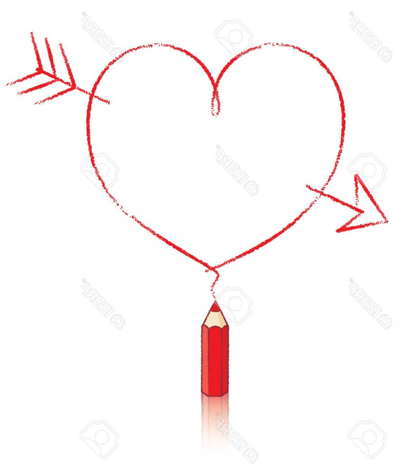 Small Arrow Vector: Photoempty Love Heart With Cupids Arrow Drawn By Small Red Pencil