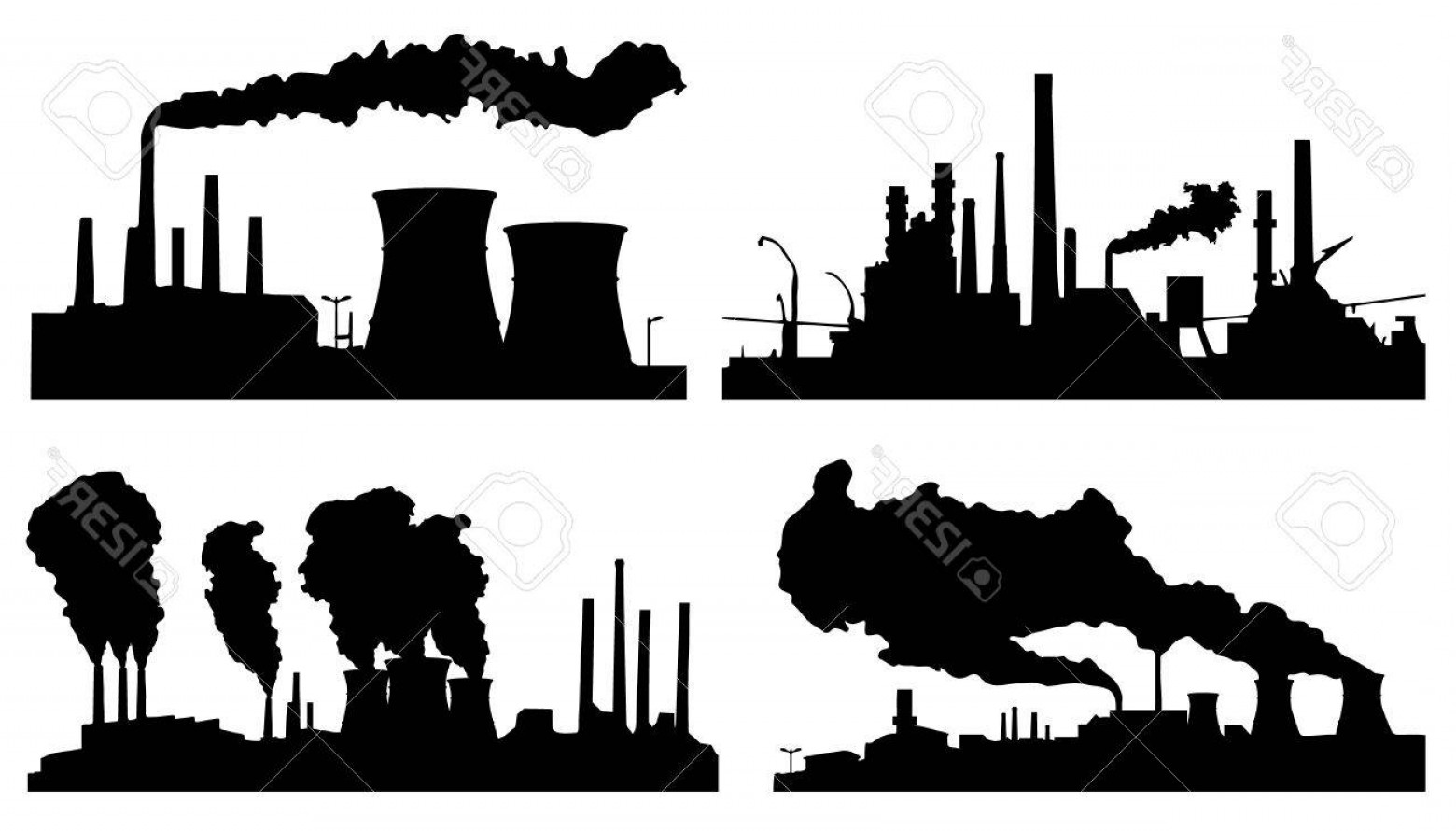 Factory Vector Skyline: Photofactory Silhouettes On The White Background