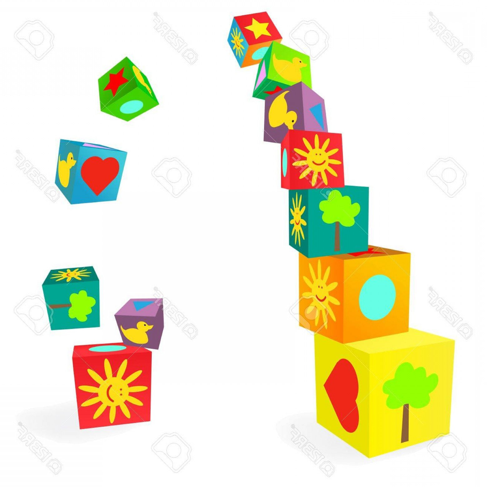 Vector Block Play: Photofalling Tower Of Colorful Childish Play Cubes