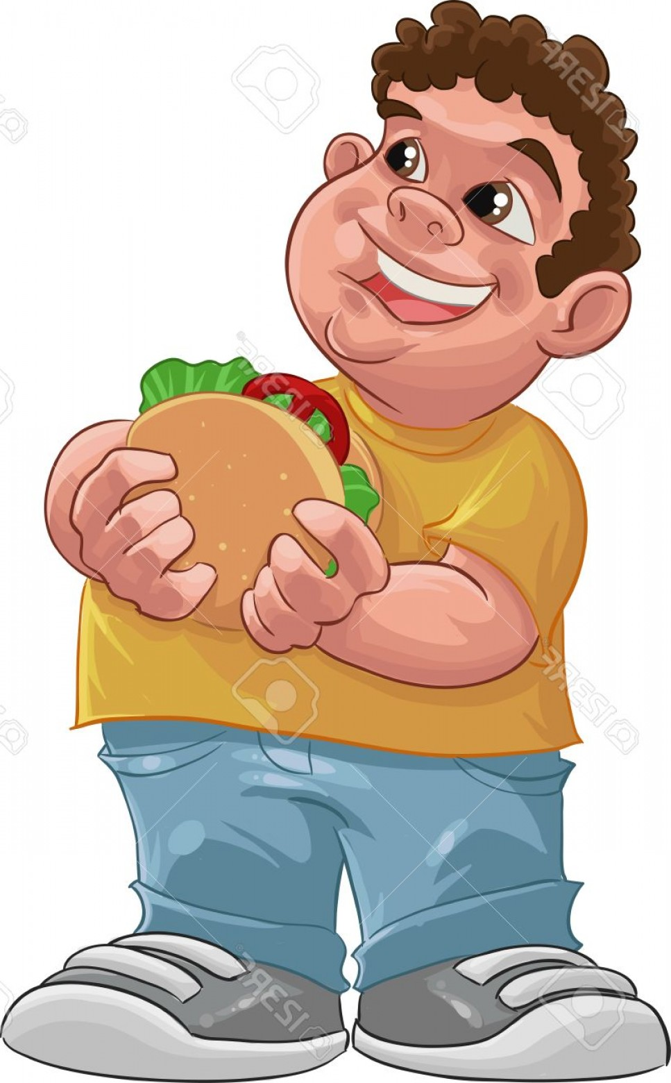 Fat Boy Logo Vector Art: Photofat Boy Smiling And Ready To Eat A Big Hamburger