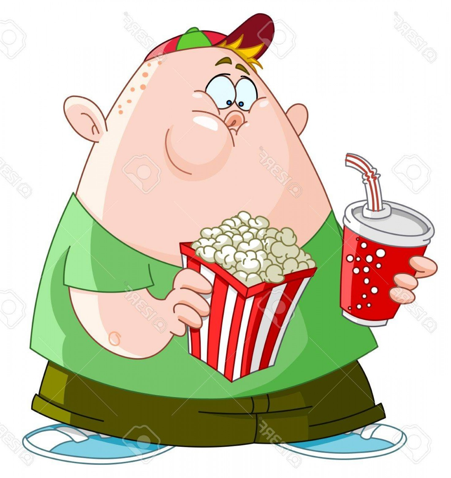 Fat Boy Logo Vector Art: Photofat Kid With Popcorn And Soda