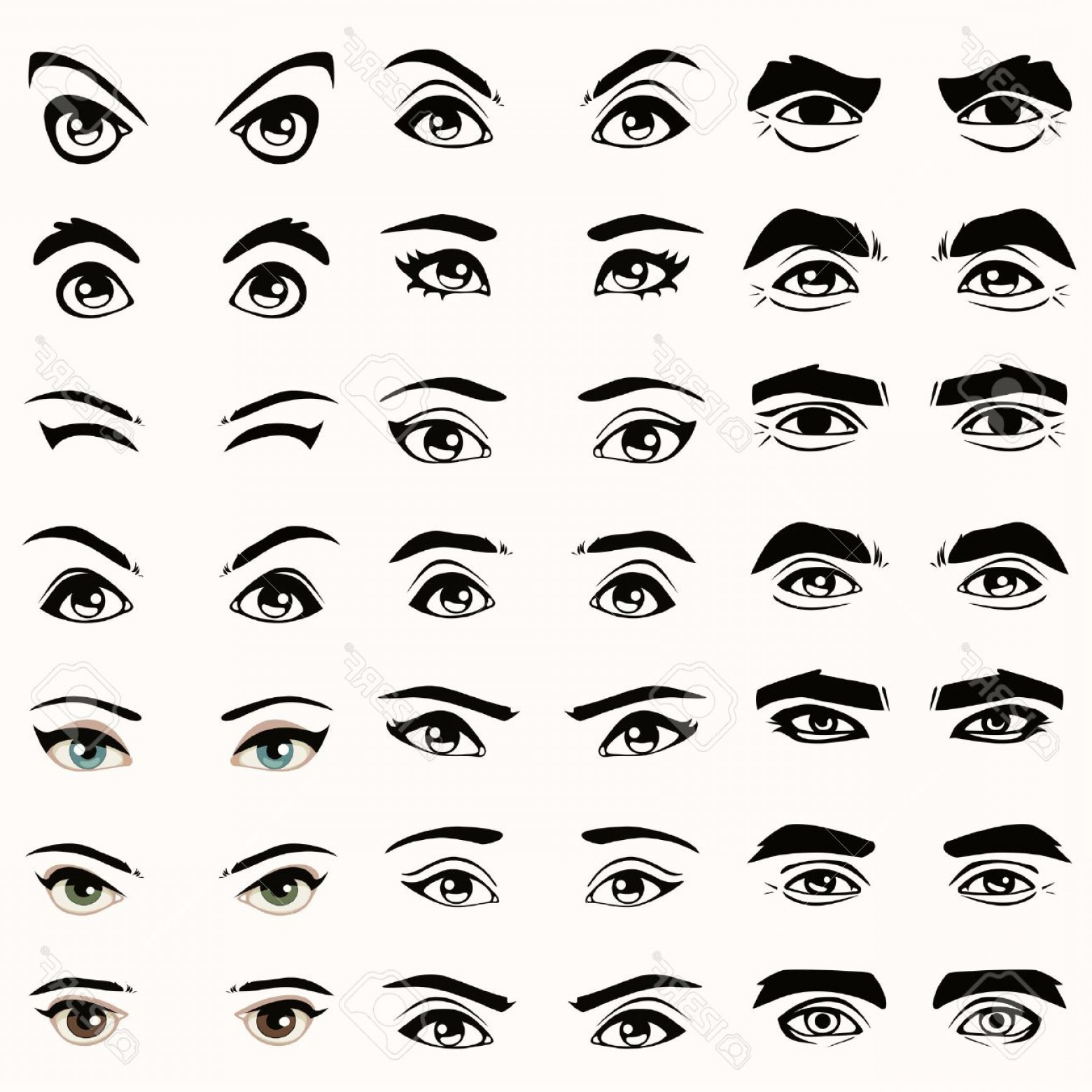 Male Eyes Vector Graphic: Photofemale And Male Vector Eyes And Eyebrows Silhouette