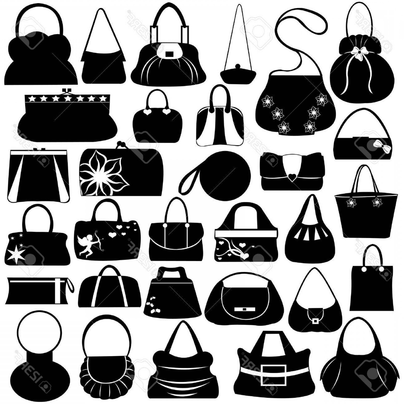 Purse Vector Art: Photofemale Purse Set Isolated On White