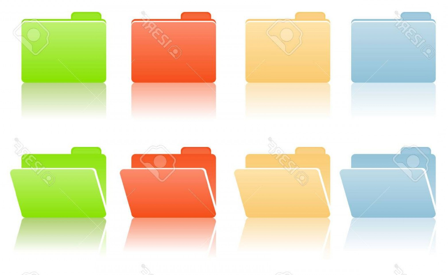 Folder Tab Vectors: Photofile Folders With Place For Label In Blue Red Yellow Green Color Tones