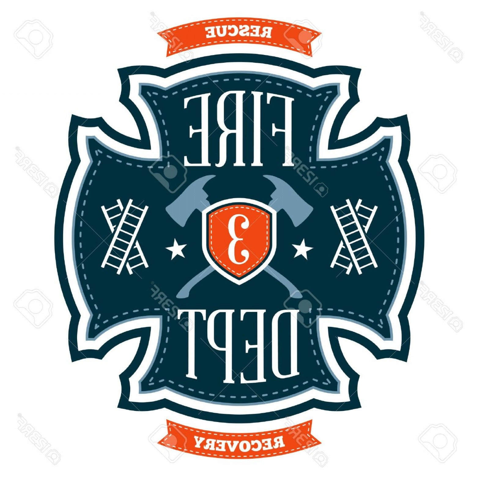 Fire Maltese Vector: Photofire Department Emblem Crest With Crossed Axes