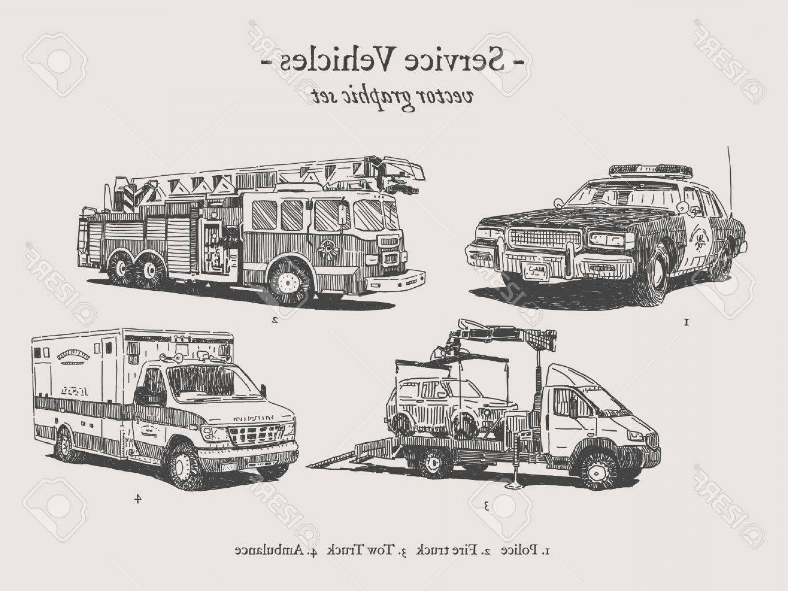 Custom Police Cars Vector: Photofire Truck Police Car Ambulance And Tow Truck Vector Drawings Set
