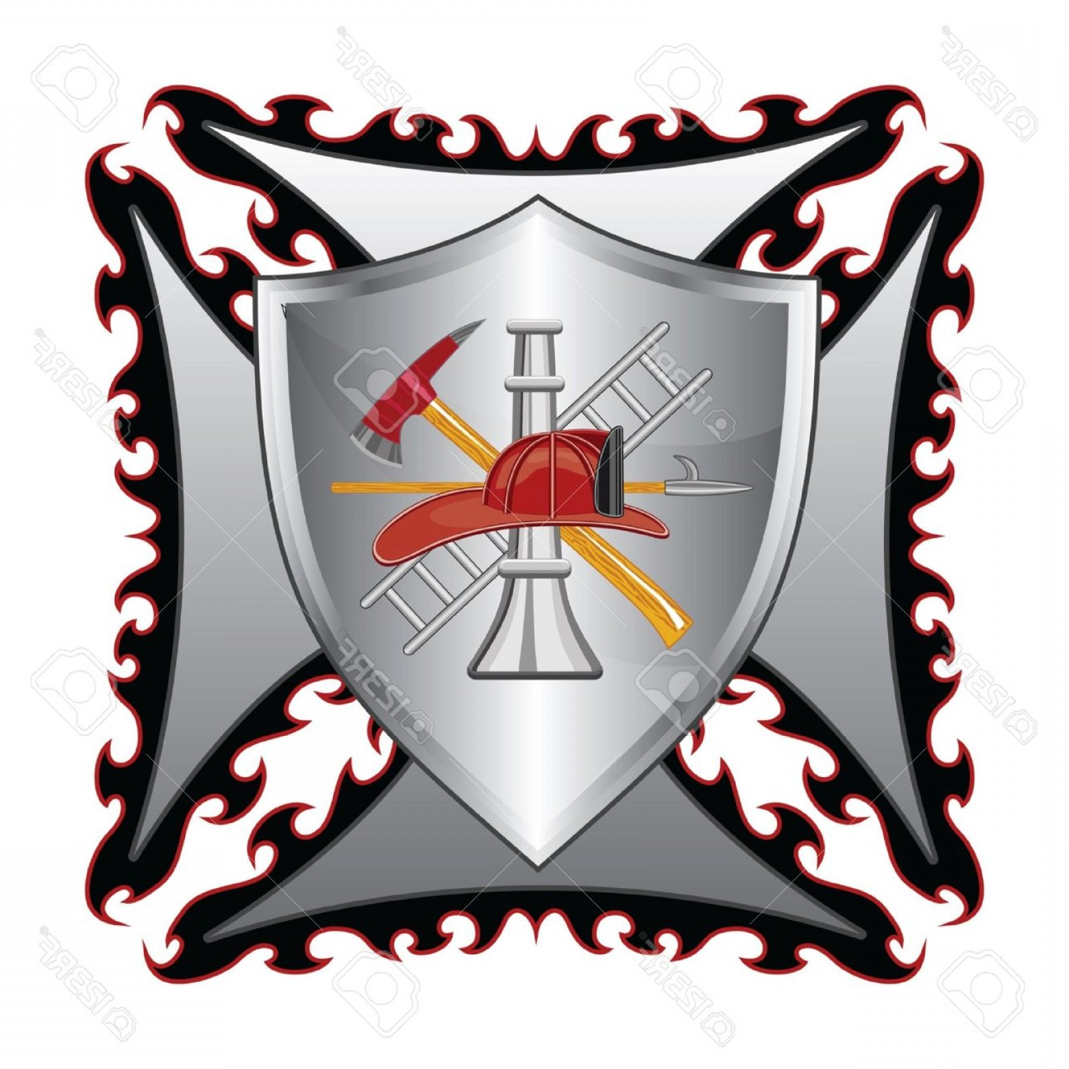Fire Maltese Vector: Photofirefighter Cross With Shield Is An Illustration Of A Fire Department Or Firefighteres Maltese Cross