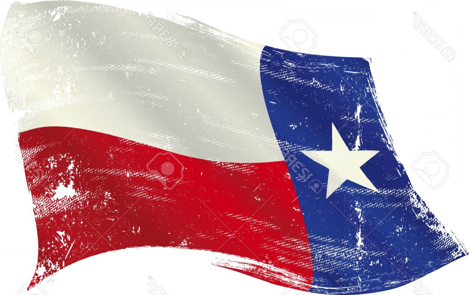 Texas Flag Vector Art: Photoflag Of Texas In The Wind With A Texture