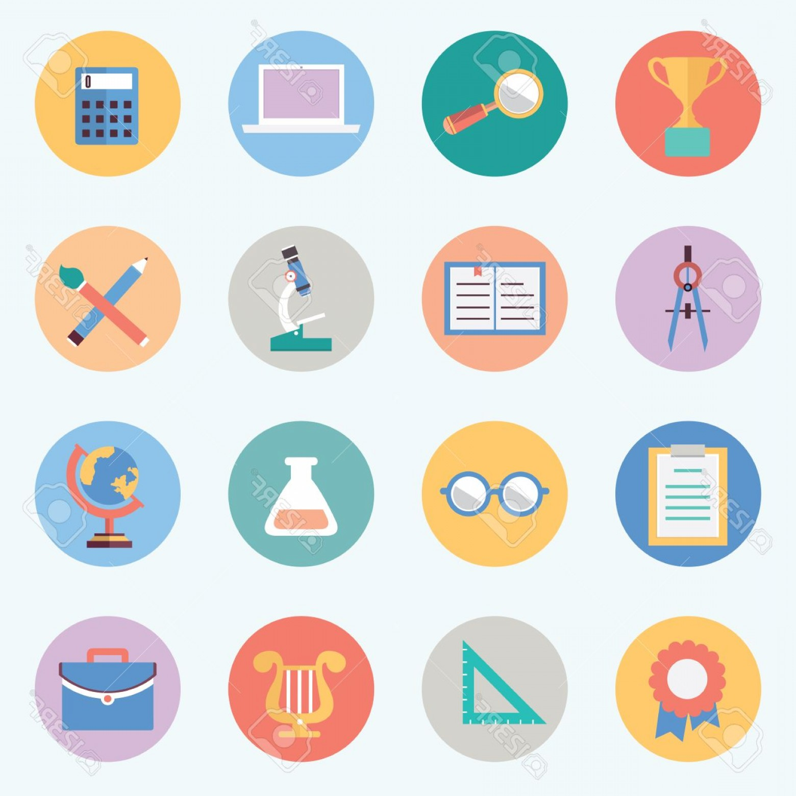 Free Vector Flat Education Icons: Photoflat Education Icons Science And Knowledge
