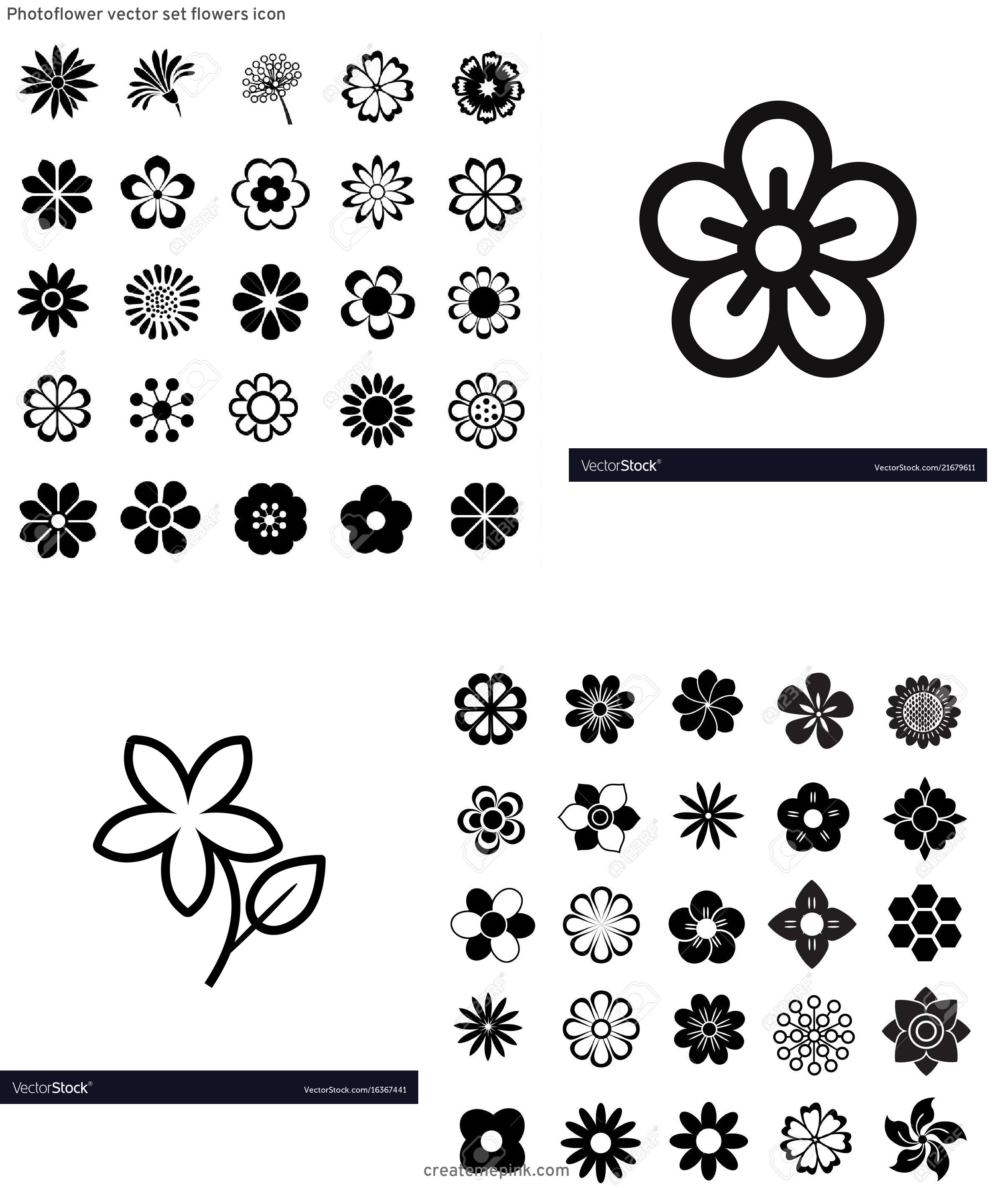 Flower Icon Stock Vector: Photoflower Vector Set Flowers Icon