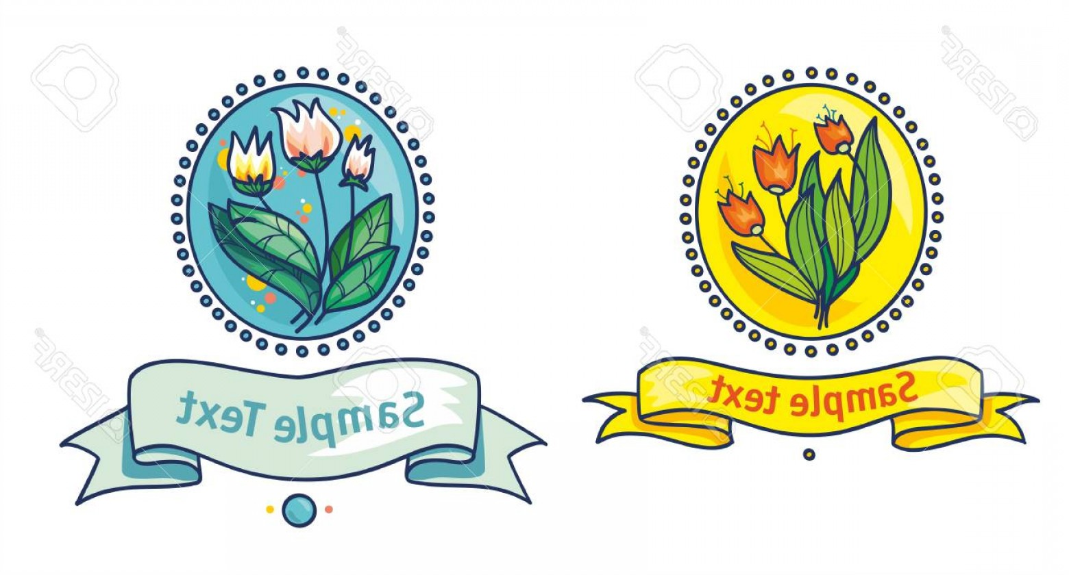 Vector Flower Band: Photoflowers With Long Leaves On An Oval Background With The Band For The Label
