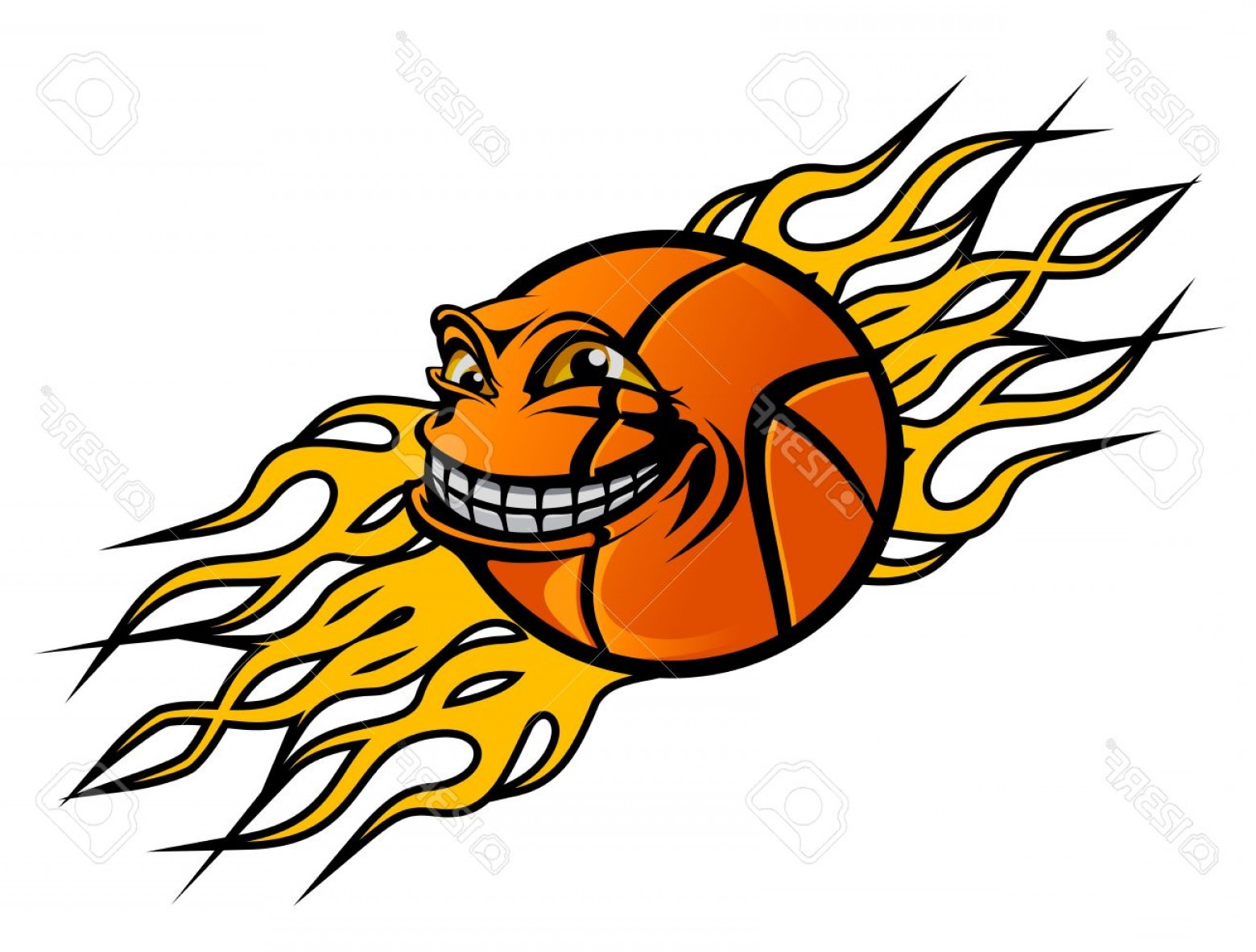 Basketball Seams Vector Clip Art: Photoflying Funny Basketball Ball With Flames For Sports Tattoo Design