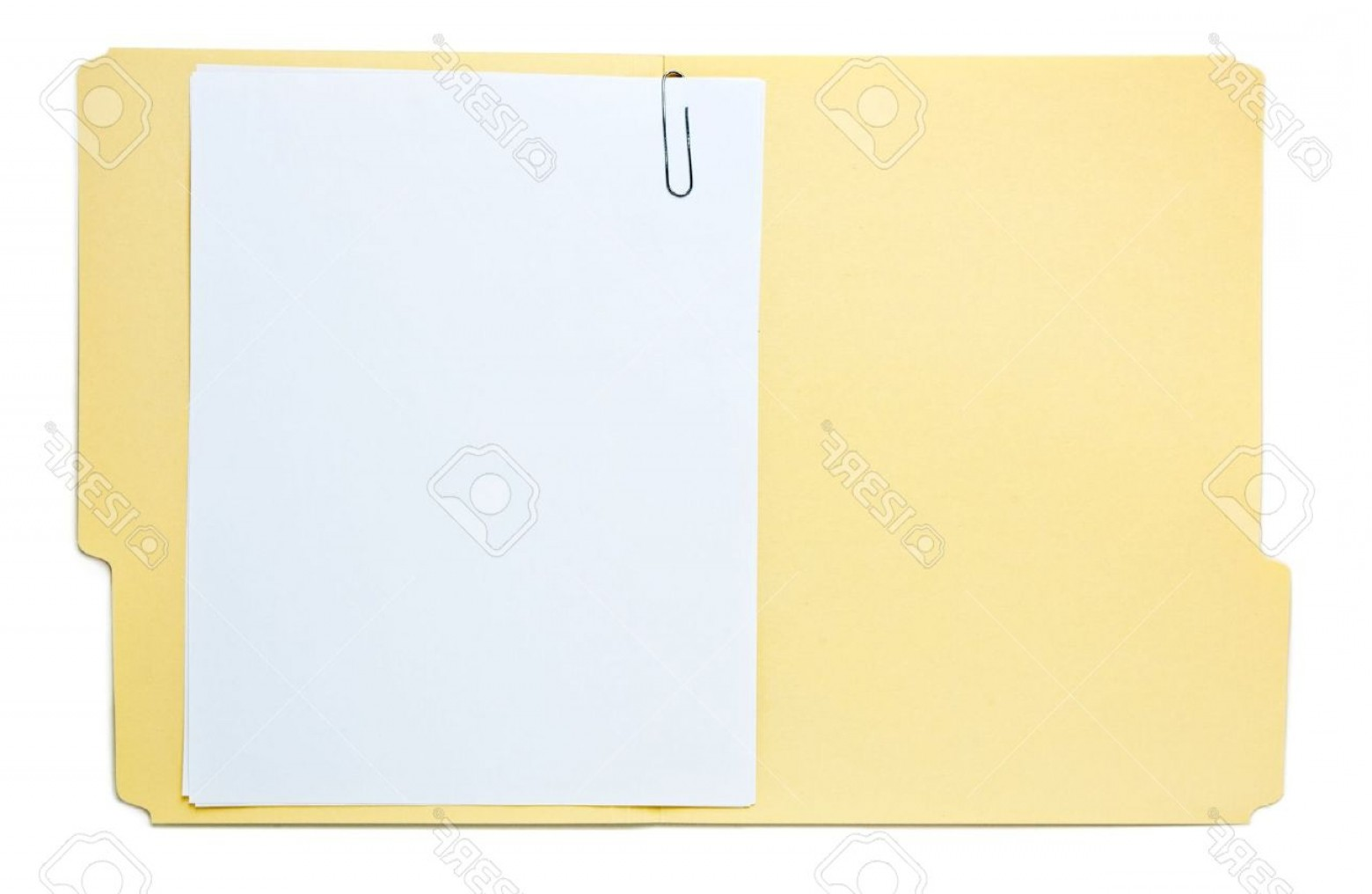 Folder Tab Vectors: Photofolder With Paperwork Isolated On White