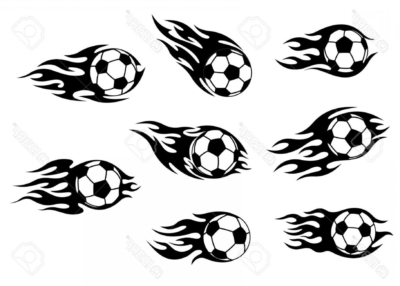 Tribal Football Vector Art: Photofootball And Soccer Tattoos With Tribal Flames