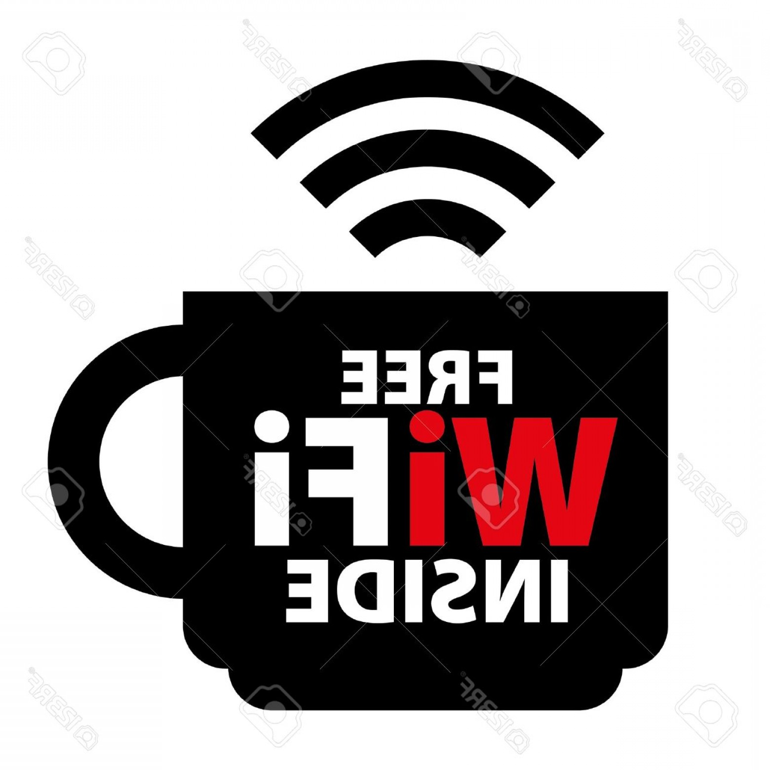 Wifi Symbol Clip Art Vector: Photofree Wifi Inside Sign With Black Cup