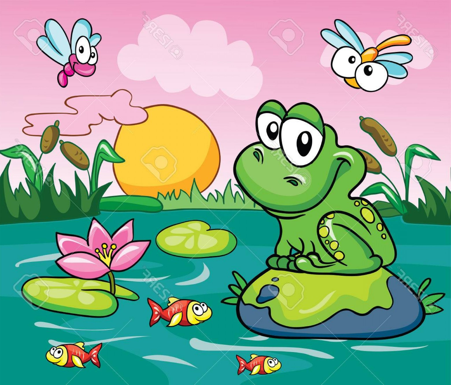Swamp Vector Art: Photofrog In The Swamp Vector Illustration On A Colored Background