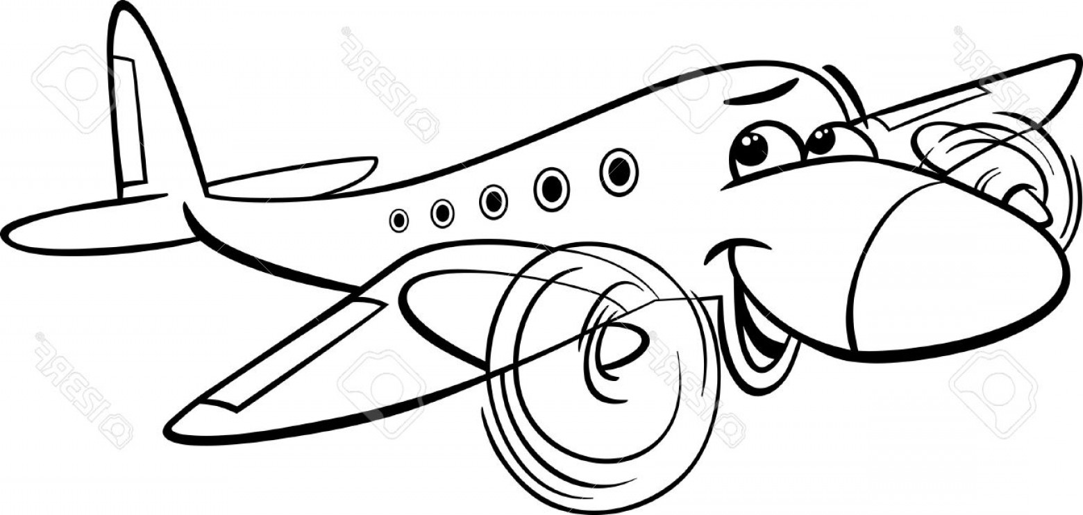 Funny Black And White Vector: Photofunny Black And White Cartoon Plane