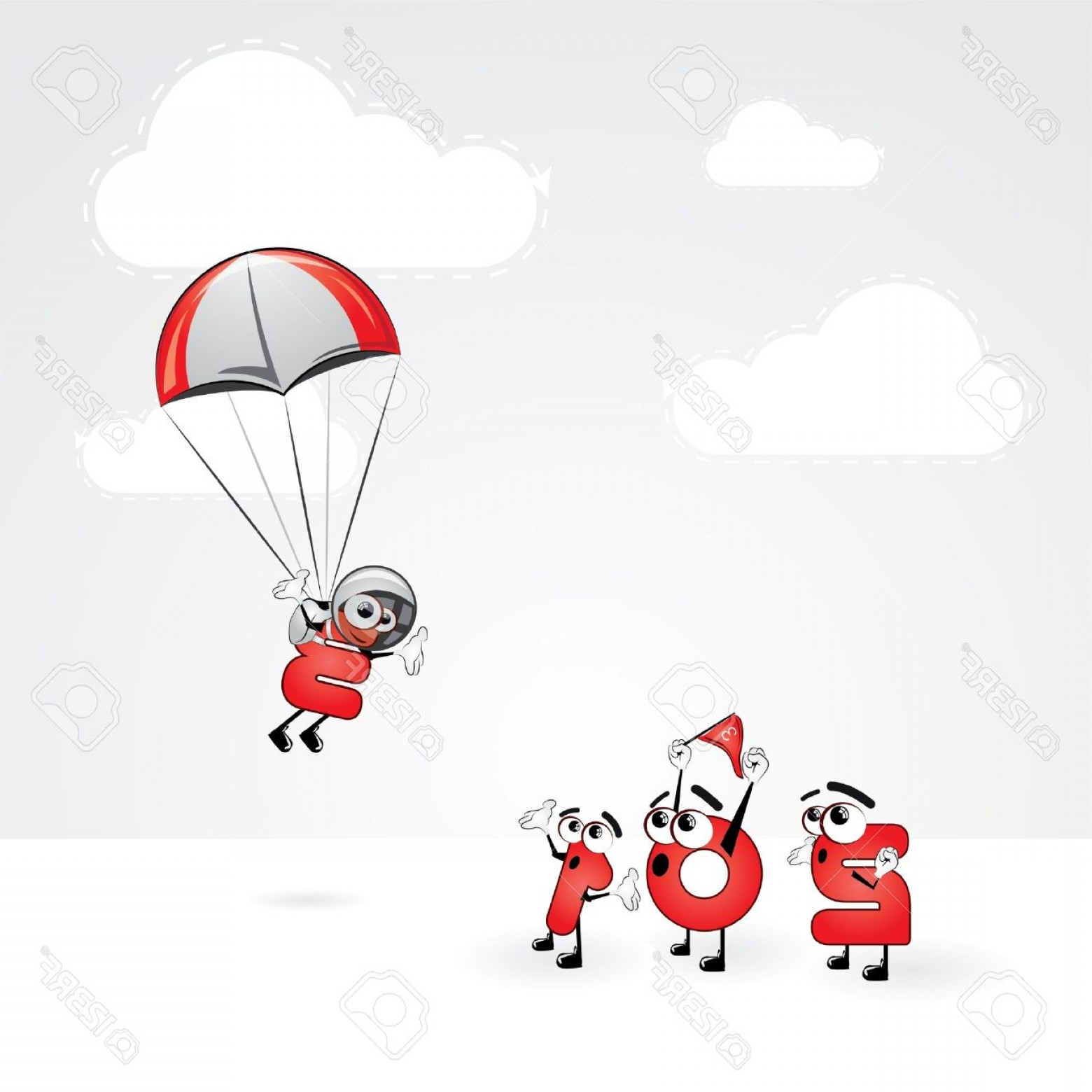 Vector New Year's Eve: Photofunny New Year S Eve Greeting Card Skydiving Year