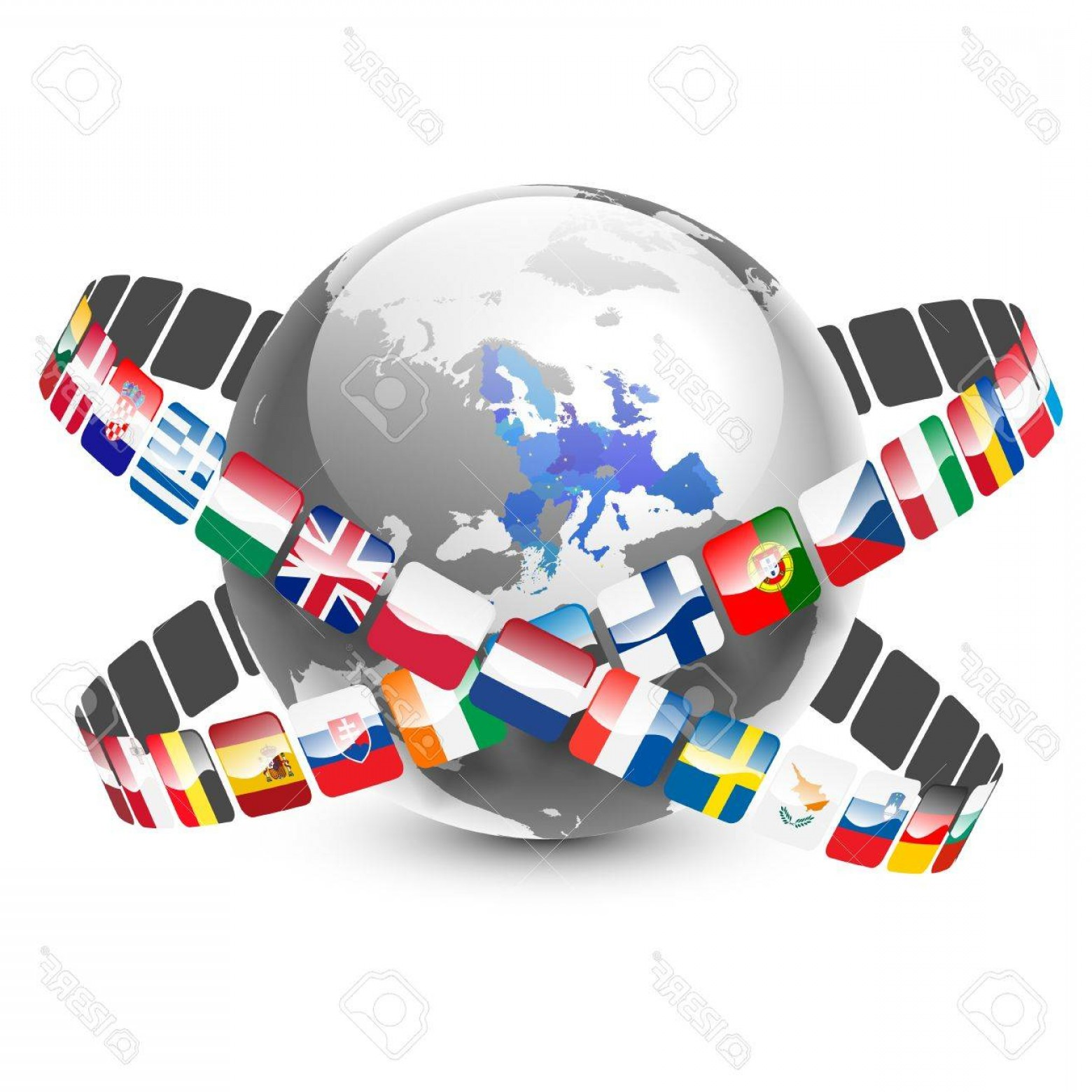 Vector Globe Countries: Photoglobe With European Union Countries And Flags