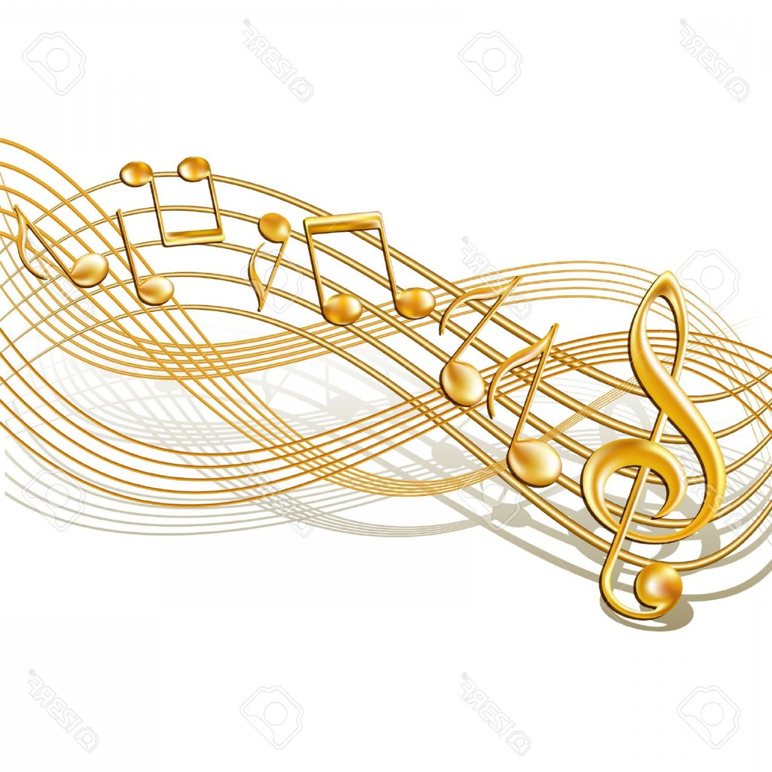Musical Vector Artwork: Photogold Musical Notes Staff Background On White Vector Illustration