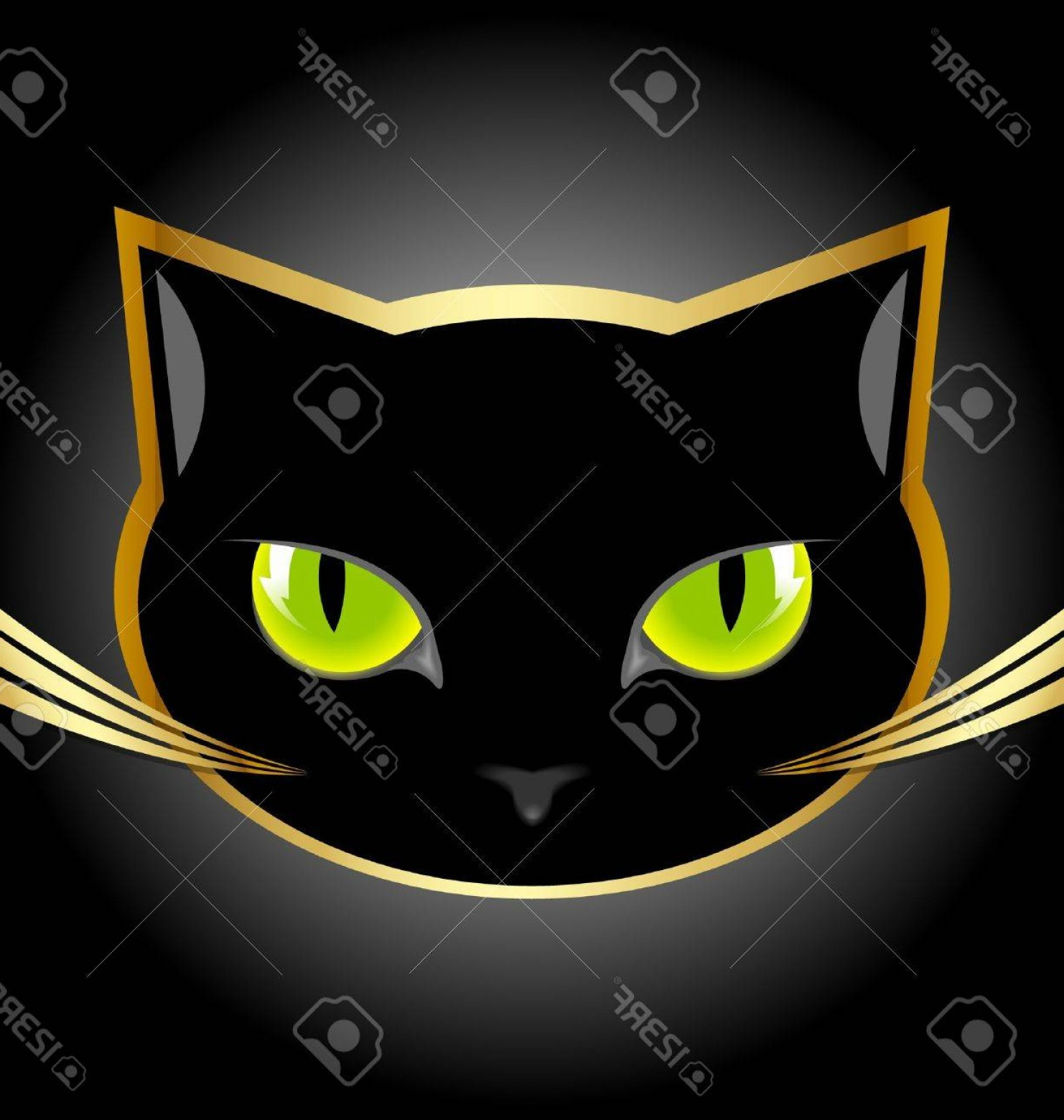 Malee Cat Head Silhouette Vector: Photogolden And Black Cat Head On Black Background