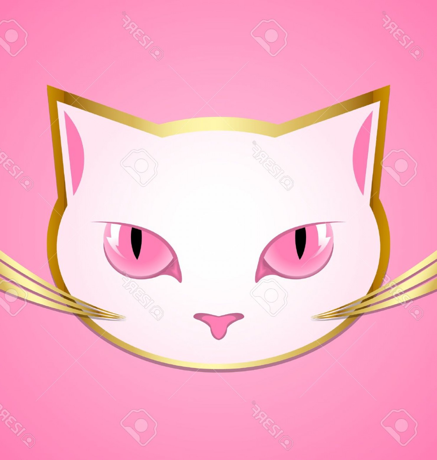 Malee Cat Head Silhouette Vector: Photogolden And White Cat Head Isolated On Pink Background