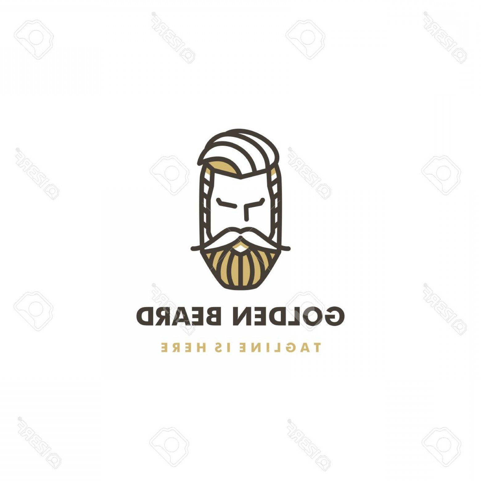 Golden Barber Vector: Photogolden Beard Man Barber Shop Pomade Logo