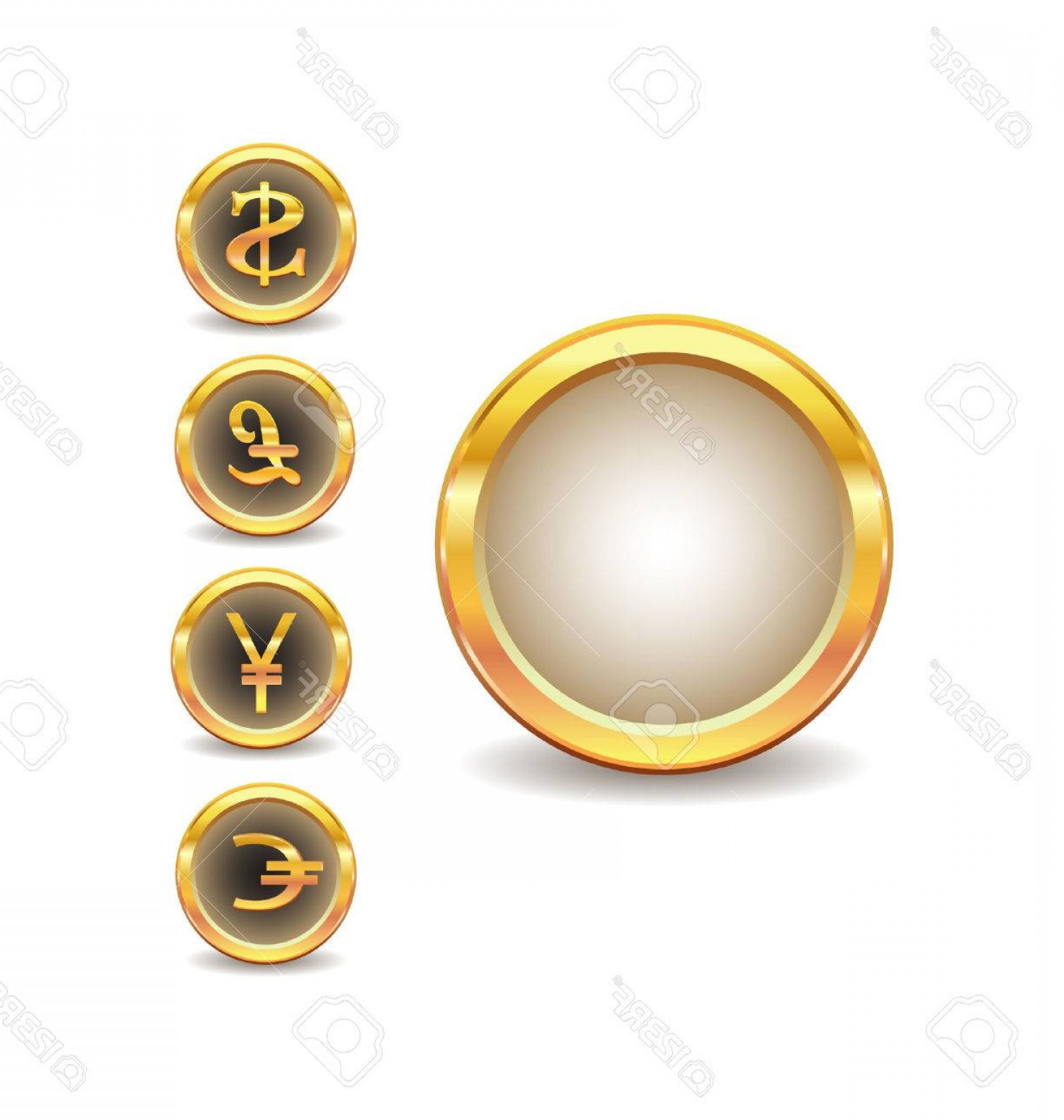 Gold Button Vector: Photogolden Buttons With Words Currency Icons