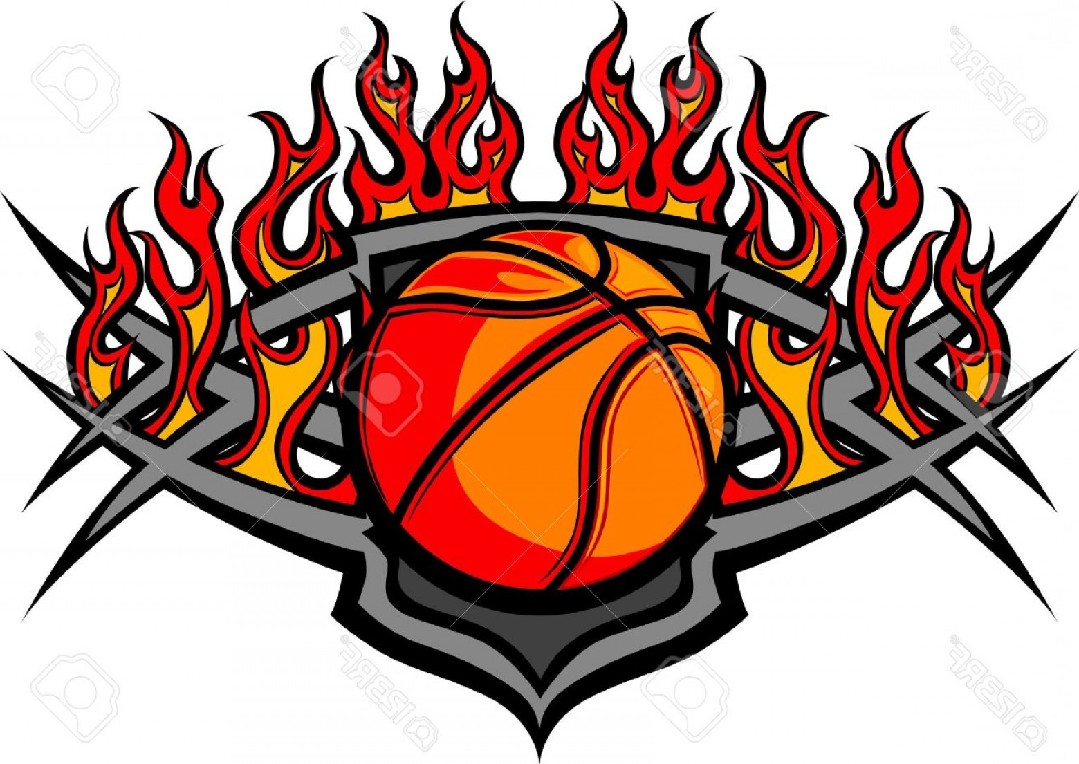 Basketball Vector Graphic Designs: Photographic Basketball Ball Image Template With Flames