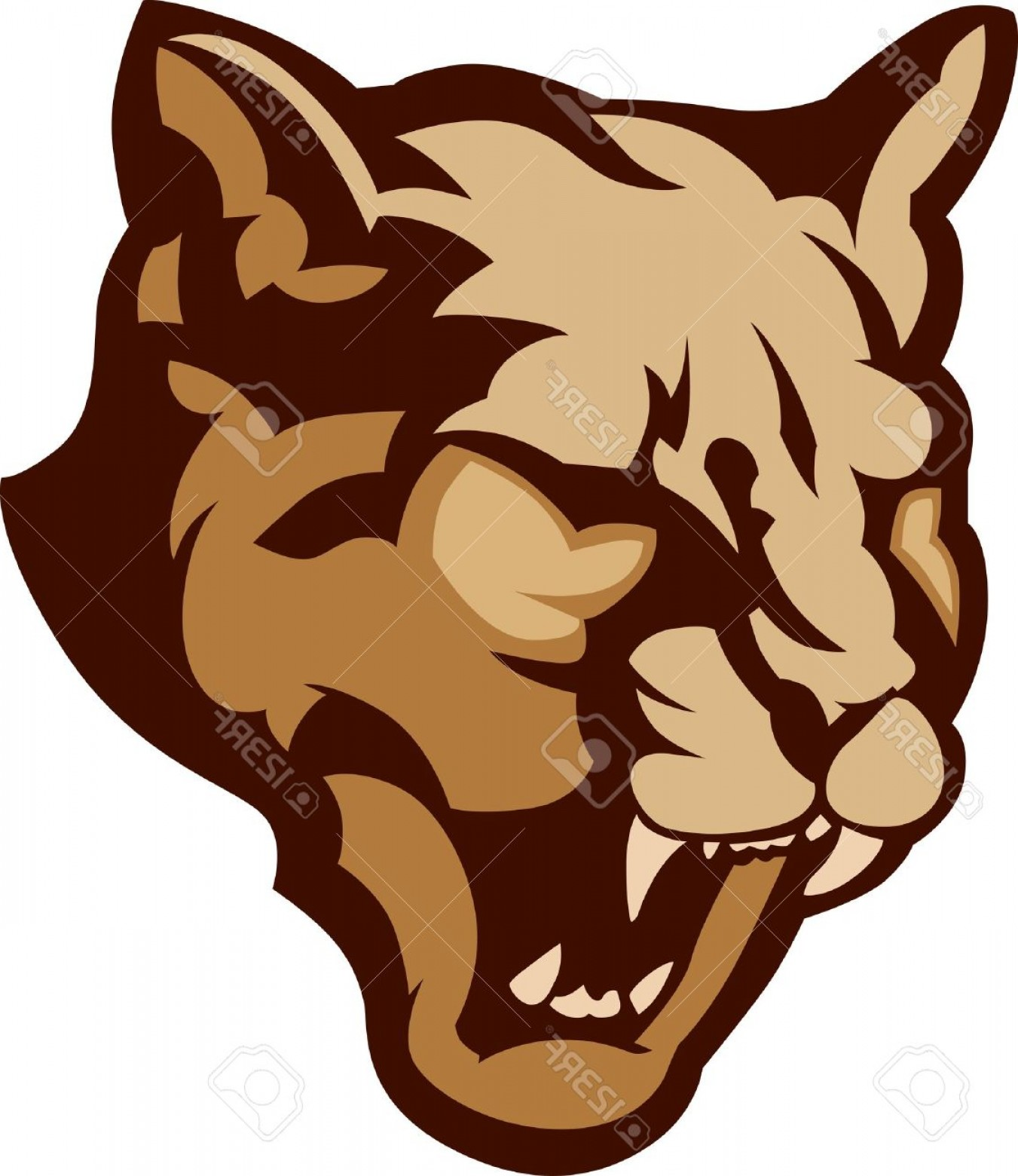 Cougar Logo Vector: Photographic Mascot Vector Image Of A Cougar Head