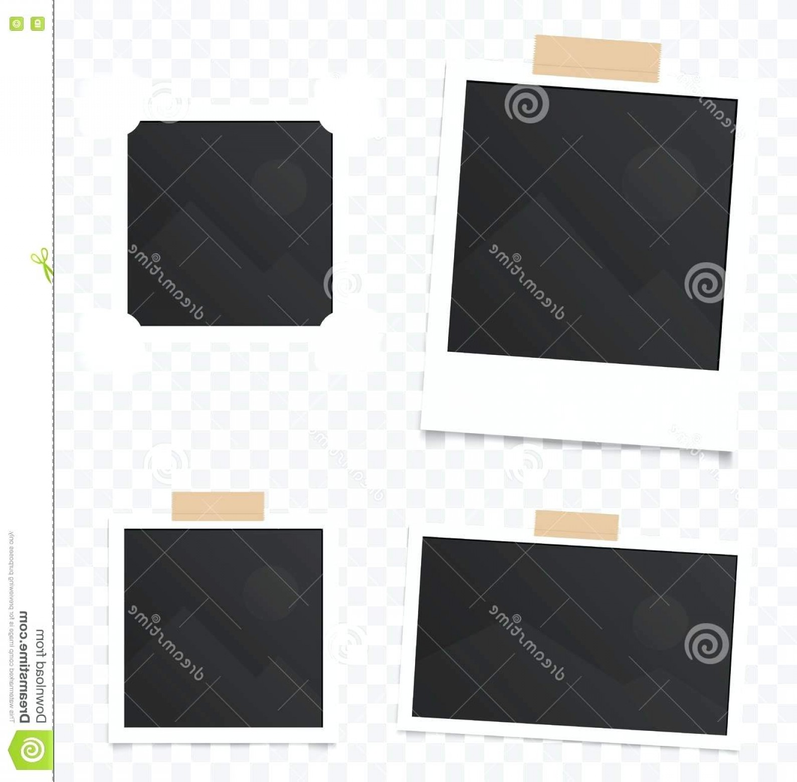 Vector In Photoshop CS5: Photography Collage Template Of Realistic Blank Instant Photos Isolated On Sticky Tape Vector Illustration Set Free Photo Photoshop Cs
