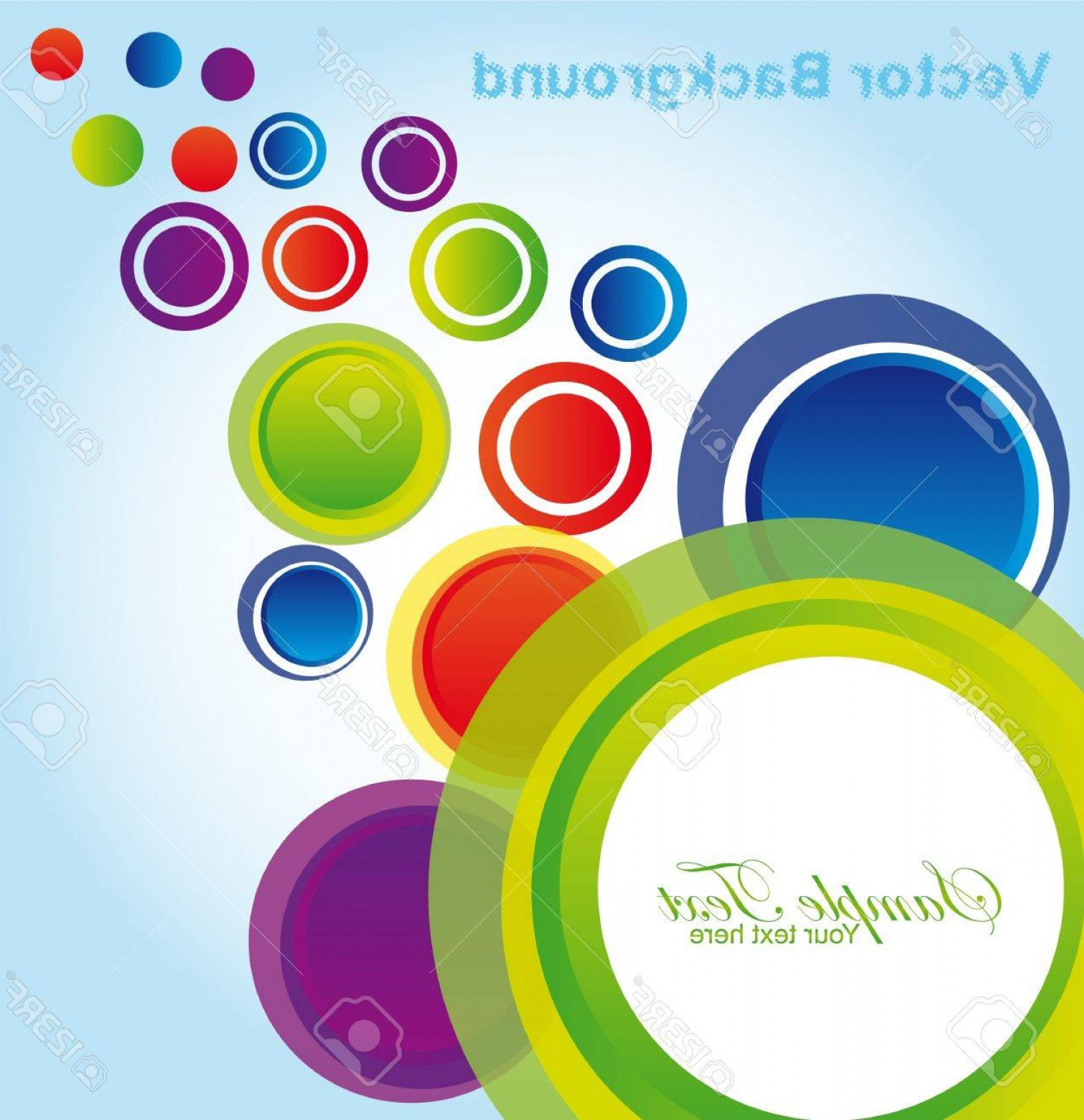 Blue And Orange Circle Vector: Photogreen Blue Violet Red Yellow Orange Circles Over Blue And White Background Vector