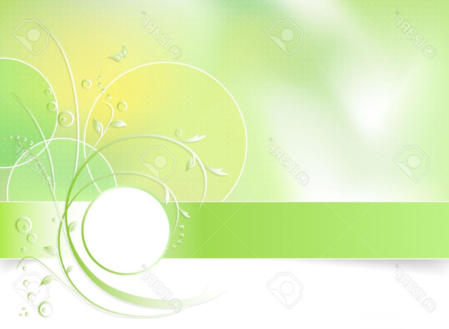 Green And White Vector: Photogreen Spring Flower Background Greeting Card Abstract Floral Design In White Green And Light Yellow