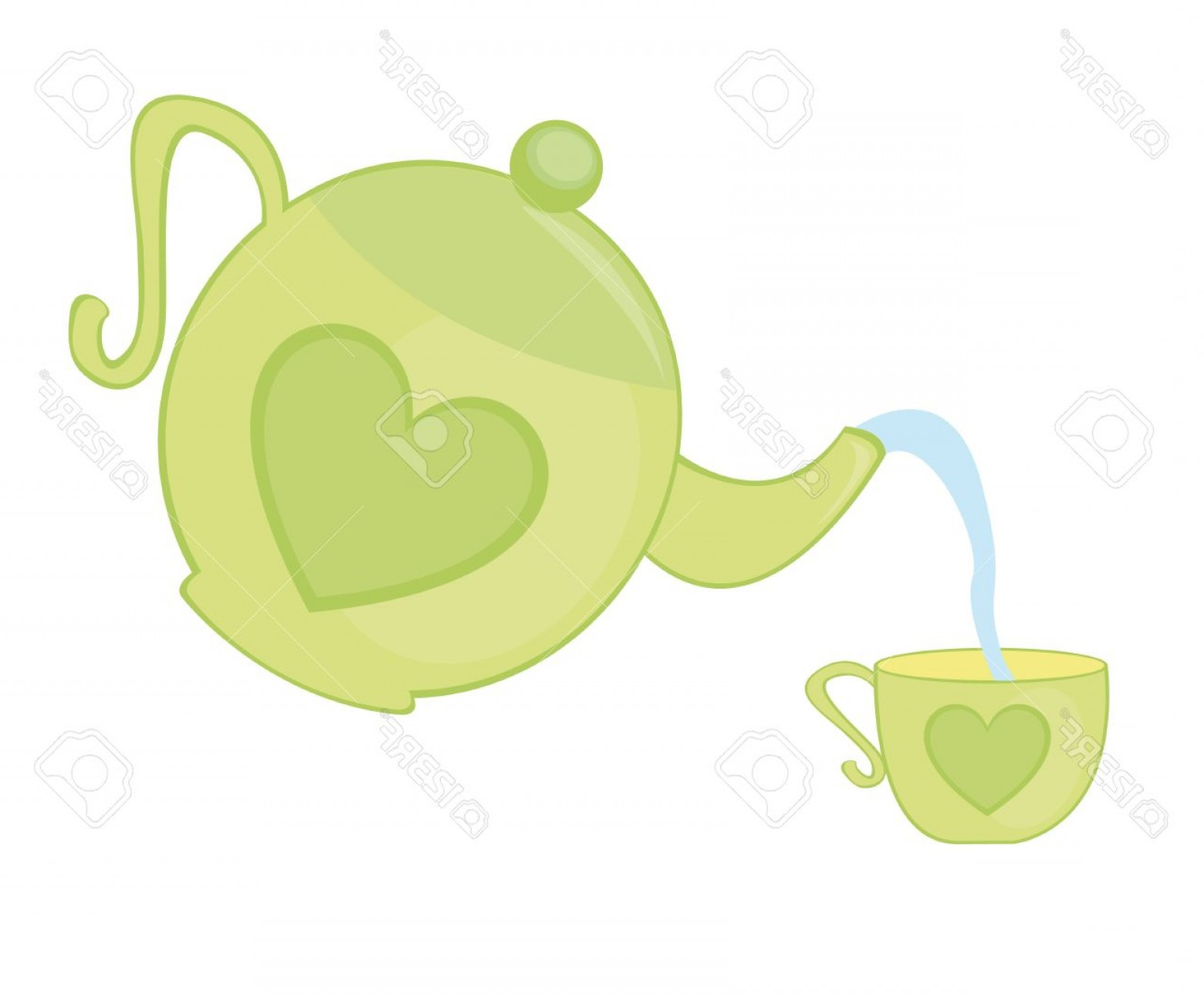 Tea Pot Vector: Photogreen Teapot And Tea Cup Isolated Over White Background Vector