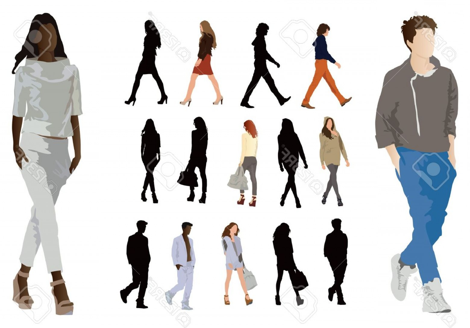 Male Human Vector: Photogroup Of Elegant Dressed In Fashion Clothes Young People Long Legs And Perfect Body Proportions Vect