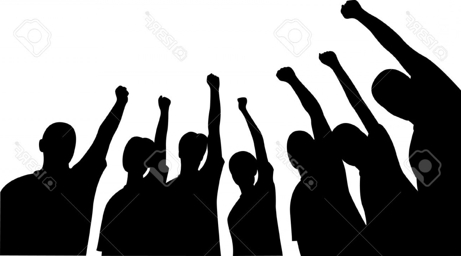Sillouhette Vector Group: Photogroup Of Friends Upwards Hands Vector