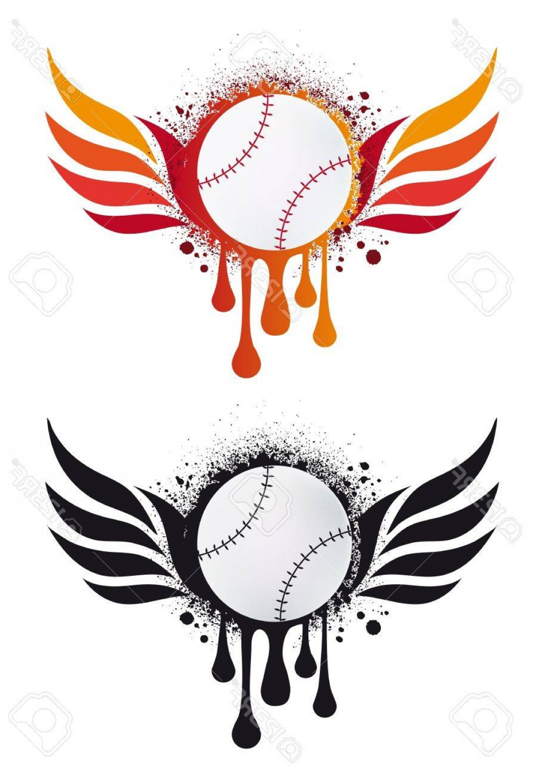Baseball Tails Vector Clip Arts: Photogrungy Baseball With Fire Wings And Drops Vector