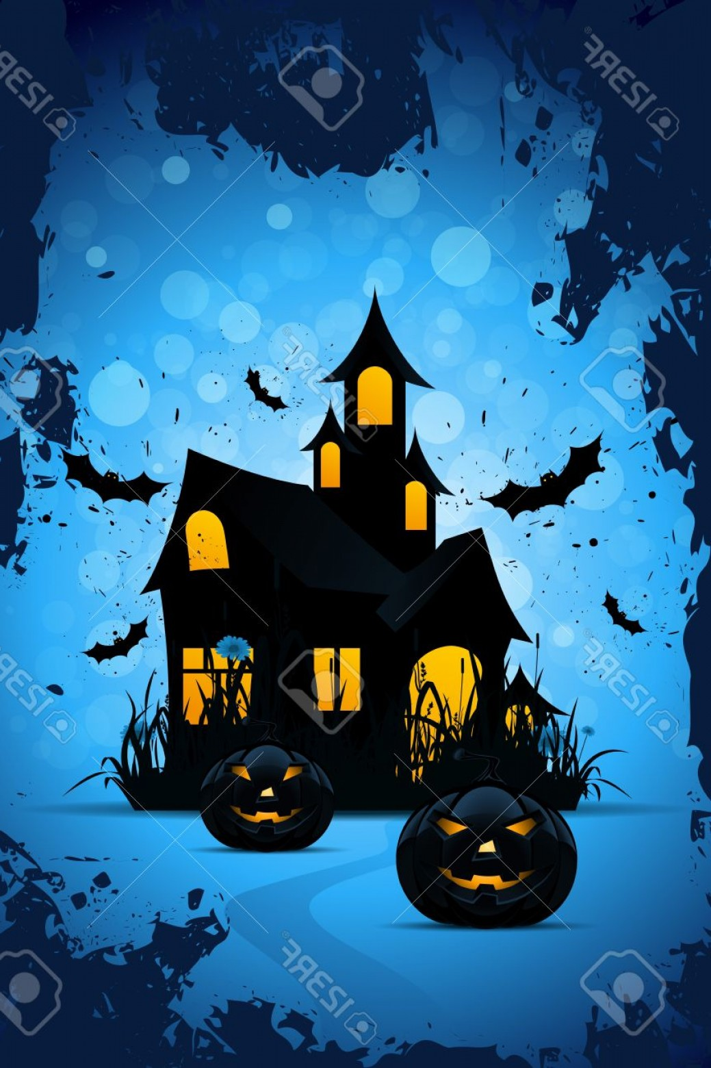 Halloween Haunted House Silhouette Vector: Photohalloween Background With Bats Pumpkins And Haunted House