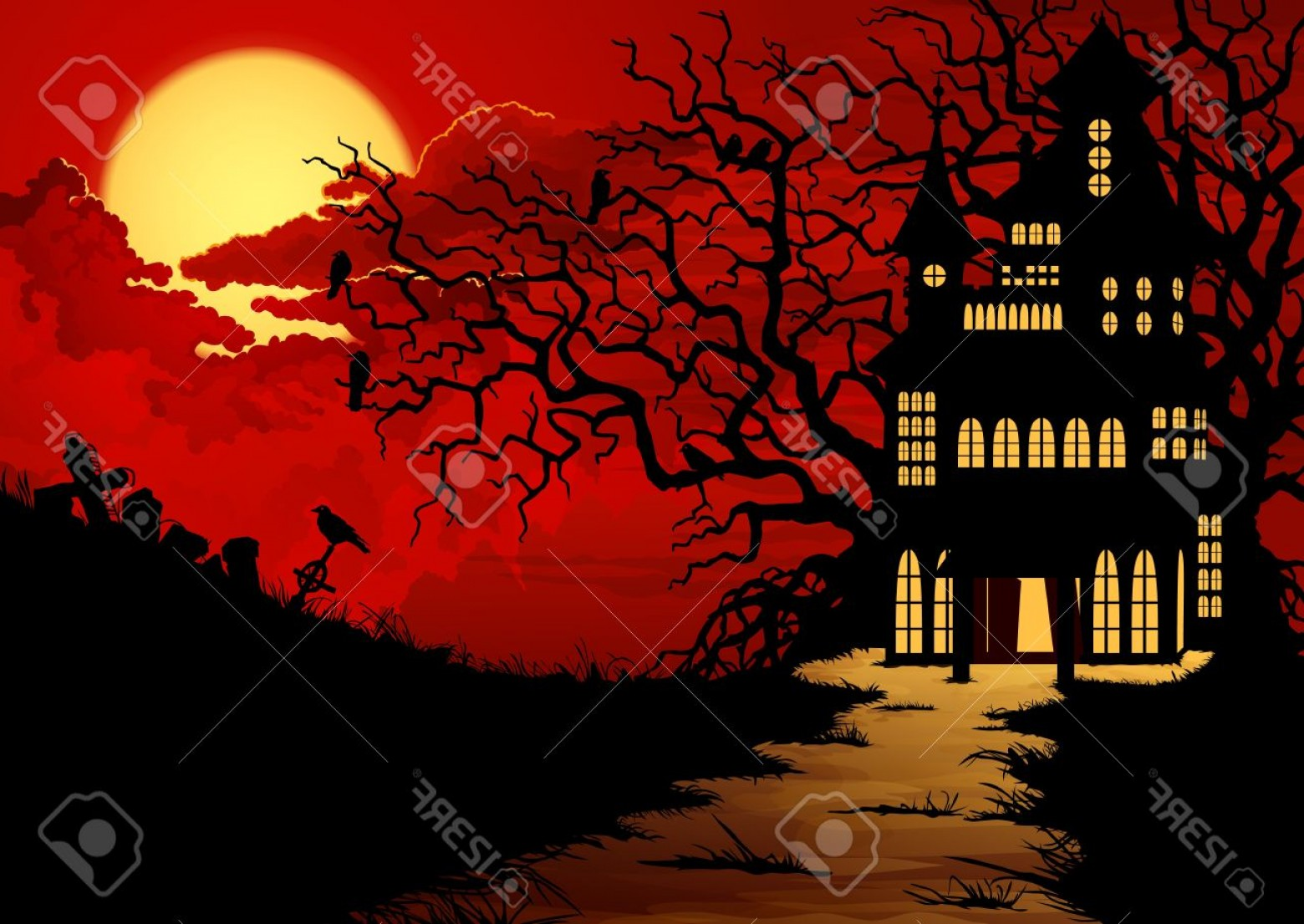 Halloween Haunted House Silhouette Vector: Photohalloween Background With Haunted House And Cemetery