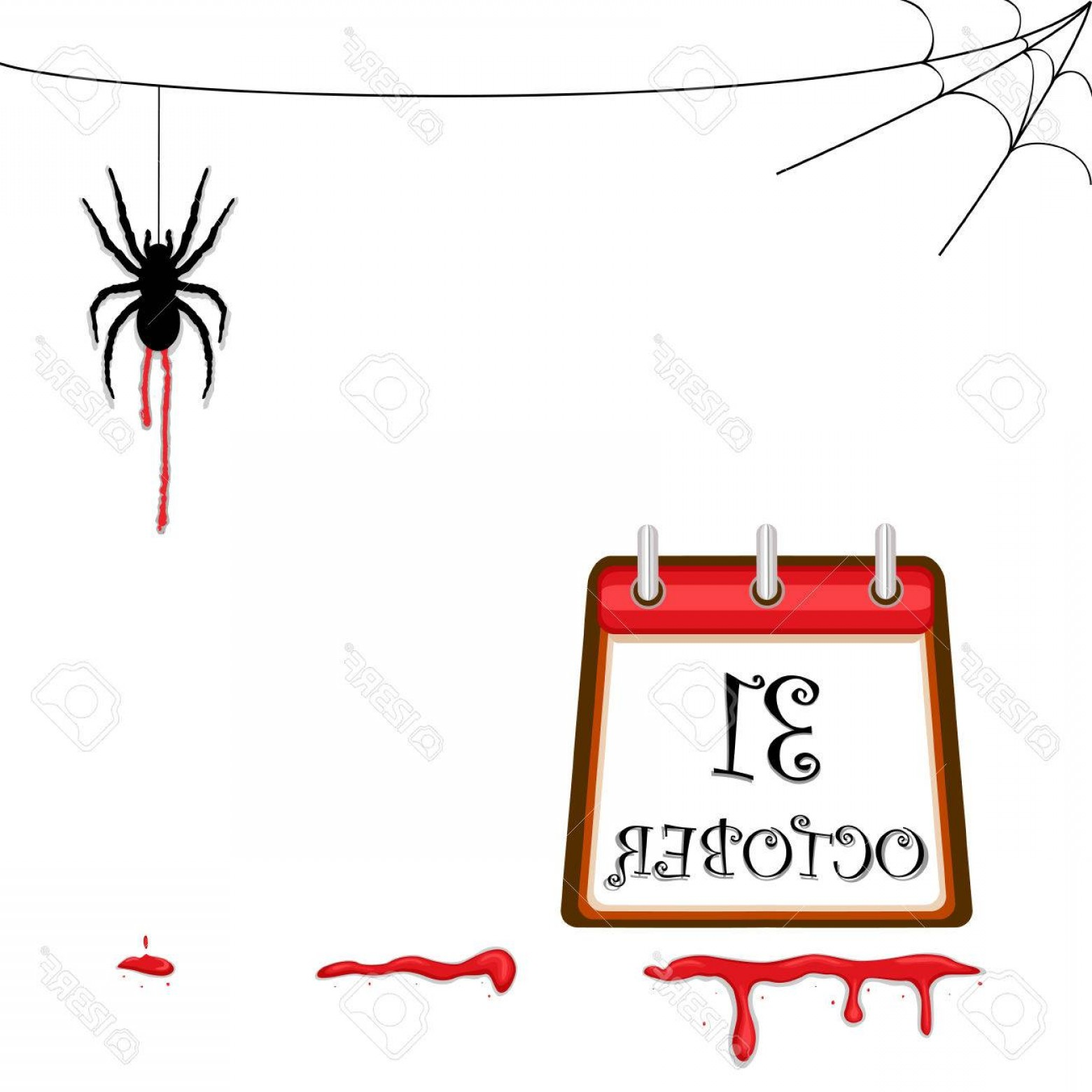 Easy Spider Vector Illustration: Photohalloween Celebration With Creepy Spider And Blood Trail Ai No Effects No Filters Easy Printing