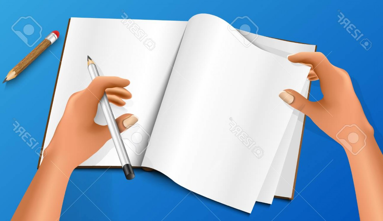 Notepad Writing Hand Vector: Photohand Writing With A Pencil And Notepad