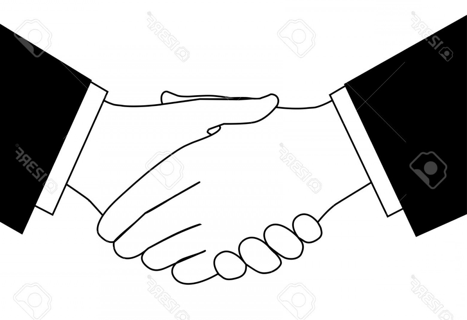 Handshake Clip Art Vector: Photohandshake Clipart Sketch Of Business People Shaking Hands To Meet Or Agree On A Deal