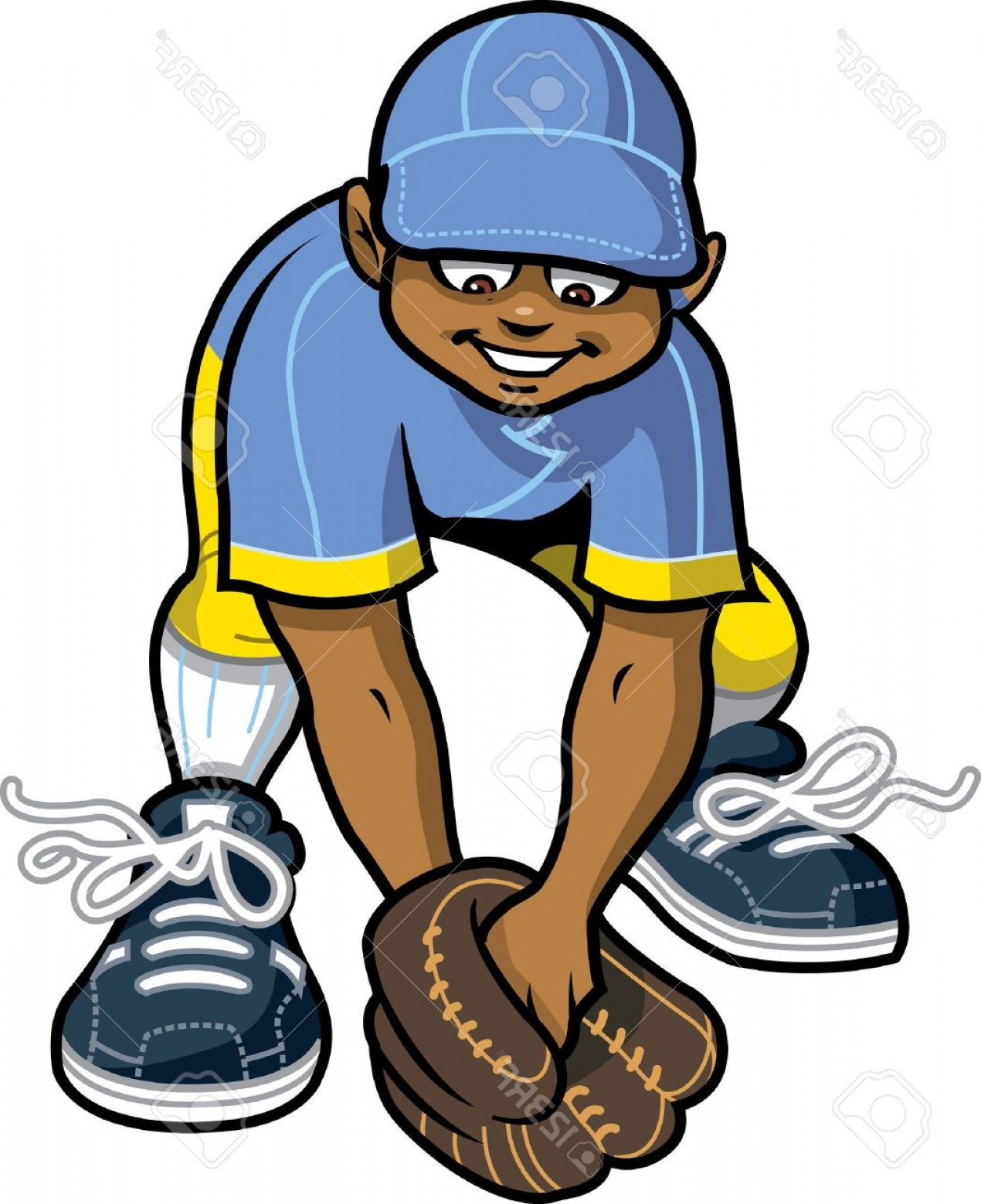 Little League Baseball Vector Logo No Text: Photohappy Baseball Softball Little League Outfielder Getting Ready To Catch A Ground Ball